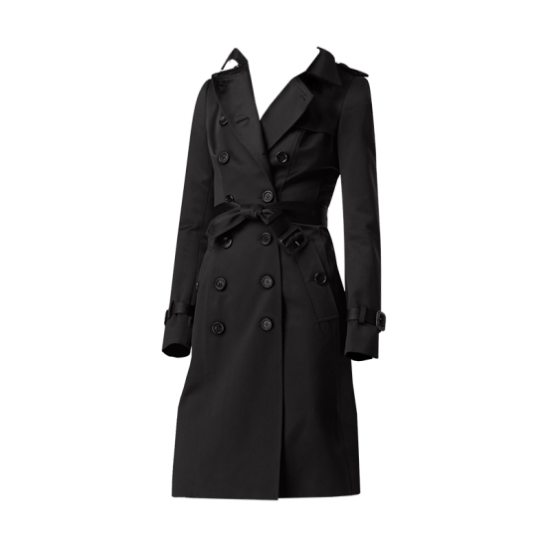 Burberry Cotton Sateen Trench Coat Black