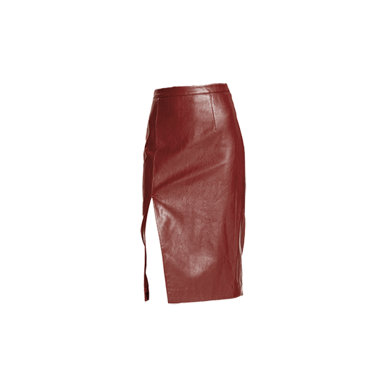 Bardot Faux Leather Side Slit Pencil Skirt